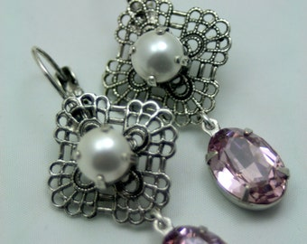 Emma Swarovski Elements Tennis Earrings Rhinestone Pearl Lite Amethyst Original Bridal Jewlery