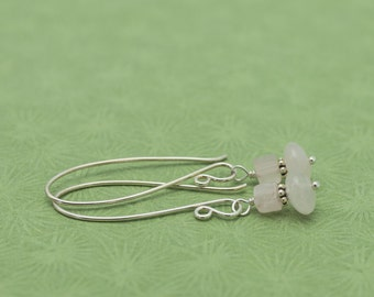 SALE Pale Pink Rose Quartz Sterling Silver Earrings