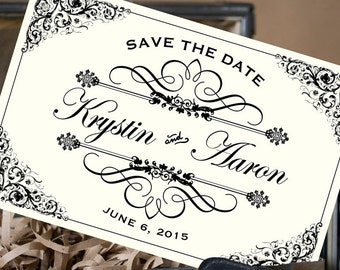 Vintage Filigree Postcard Save the Date (New York) - Design Fee