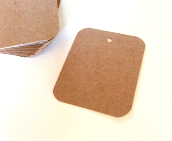 Gift tags, rounded corners, 2x3, set of 50, wedding favor, business label, kraft tag