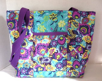 Quilted Floral Purse - Floral Purple Large Quilted Tote - Lots of Pockets  - Turquoise Navy