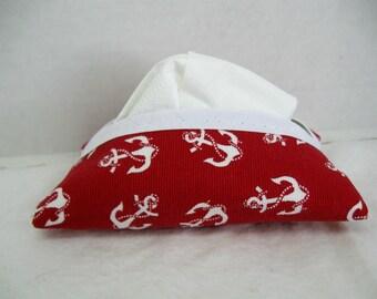 Nautical Tissue Holder Anchors Pocket Tissue Cozy Red Tissue Case