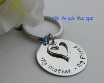 Mothers Day Gift My Mother My Friend Personalized Custom Hand Stamped keychain