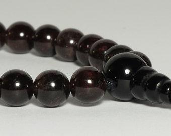Garnet 21-Bead Wrist Mala : Juzu Nenju Beads Japa Mala First Root Chakra Prayer Beads Bracelet Guru Bead Silk Cord Adjustable 8mm Tibetan