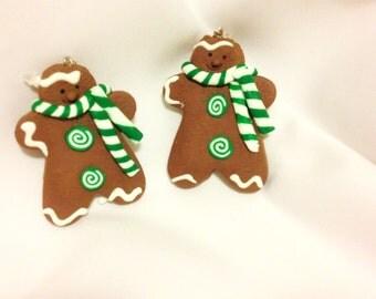 Gingerbread Man Cookie Earrings   Christmas Baking       Christmas earrings
