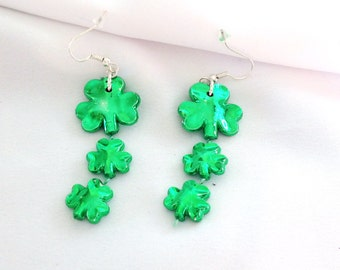 Lucky Charms  Green Clover Earrings St Patricks Day  Wear Green March 17th