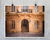 French Travel Photography- Aix en Provence Town Hall brown ornate carved stone stairs windows print wall art home decor 8x12 20x30 22x34