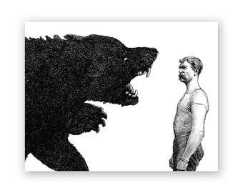 Man vs. Bear Birthday Card