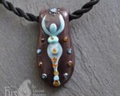 Handmade Lampworked Glass Goddess Pendant by Louise Ingram