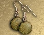 Dichroic Fused Glass Earrings - Gold - ER466