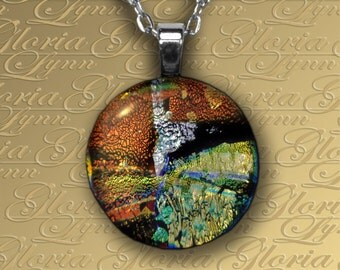 Fused Dichroic Glass Pendant Jewelry - Natural Wonder  - O161