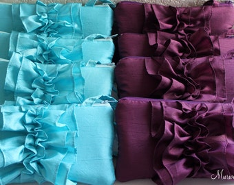 A set of 8 Bridesmaid Aqua Blue and Eggplant Clutches- Ruffle Bridal Clutches- More Color Available