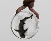 Shark pendant surfer necklace pewter pendant leather cord Father's Day,gift for dad