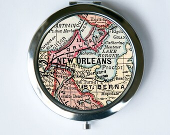New Orleans Compact MIRROR Pocket Mirror Louisiana Map