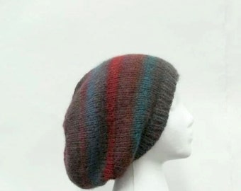 Knit slouch hat, oversized beanie, colorful hat, hand knitted   4944