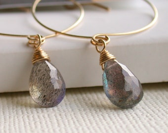Whimsy Hoops with Labradorite. Dangle Earrings. Artisan Jewelry.