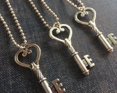 Heart Key Necklace, Silver Key Necklace, Skeleton Key Necklace, Long Key Pendant, key jewelry, ball chain necklace, Kappa Kappa Gamma Key,