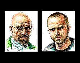 """Prints 8x10"""" - Walter White and Jesse Pinkman - Breaking Bad Heisenberg Bryan Cranston Aaron Paul Meth Drugs Pop Art Lowbrow Art Chemistry"""