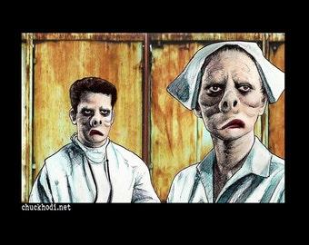 "Print 11x17"" - Eye Of The Beholder - The Twilight Zone Rod Serling Pig Face Doctor Nurse Dark Art Horror Surreal Fantasy Vintage Hospital"