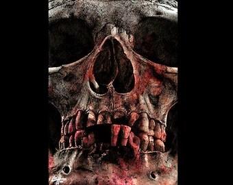 "Print 11x17"" - 22 Teeth - Skull Skeleton Dark Art Horror Bones Taxidermy Lowbrow Art Death Dead Gothic Halloween Zombie Monster Creature"