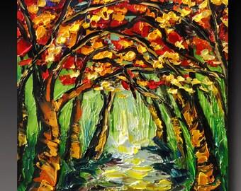 Oil Painting  Woods ART B. Sasik  Painting Original TREE Art