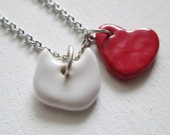 I Love Cats Necklace Glazed Ceramic Porcelain on an 18 inch Silver Chain