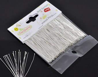 "1 Packet(300PCs) Well Sorted Silver Plated Head Pins 5cm(2"")-B60"