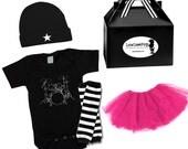 Girls Rockar Baby Kit hot pink Tutu skirt, Drums Onesie, Hat, Black & White Leg Wamers...Great for baby showers or photoshoots