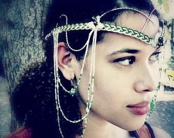 Elven Renaissance Art Nouveau Headdress, Tribal Bellydance Costume, Festival Fashion, Boho Wedding Circlet