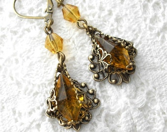 Golden Nectar - Antique glass jewel dangle drop earrings