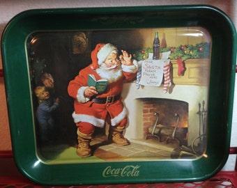 Vintage Coca Cola Christmas Tray 1983 Coca Cola Advertising Tray