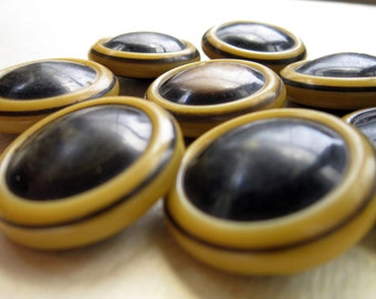 Vintage Buttons - Domed Celluloid Circles - Zombie Frog Eyes