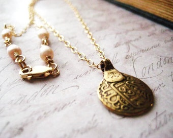 Coin Necklace, 14K gold filled, Artisan Made, Brass Pendant, Moroccan Coin, natural pearls, Cast Coin, Moroccan Style, womens jewelry