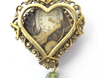 Guitar Heart Under Glass  ... Steampunk Musical  Under Glass Creation , Victorian Heart Shadowbox, One of a Kind