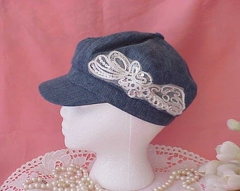 Vintage Upcycled Women's Blue Cap Sparkling Lace and Sequins Embellishment
