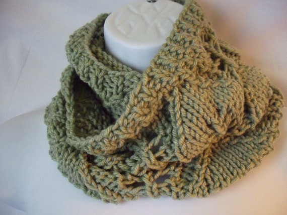 knit cowl leaf pattern sage green 4071506 by THEYARNFROG on Etsy
