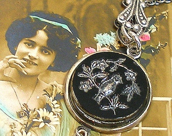 SongBird Antique BUTTON necklace, Victorian black glass on silver chain. Antique button jewellery.