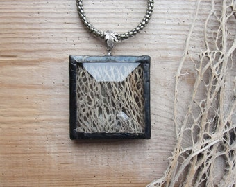 Skeleton Tree Bark Necklace Palm Tree bark, glass, metal, solder
