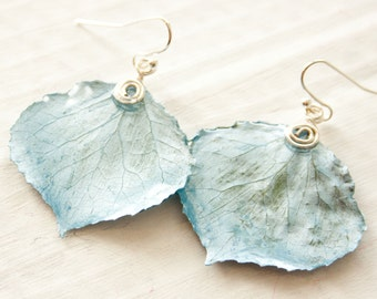 Aspen Leaf Earrings, Ice Blue Earrings, Bridesmaid Jewelry, Nature Earrings
