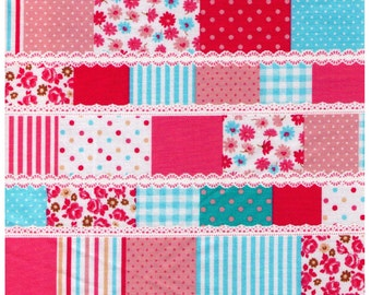 HALF YARD - Cosmo Textiles, Japanese Import, PInk Patchwork, Lace, Flowers, Stripes, Dots, Roses, Gingham