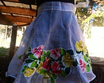 Vintage 1960s Floral Apron Sheer Yellow Pink Green epsteam Sale