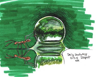 No.28 Droplet / Original Artwork / Drawing / Illustration / Daily Doodle / Water Droplet / Green Art / Drawing of a Water Droplet and an Ant