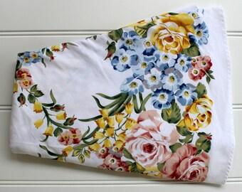 "Round Floral  Tablecloth - Floral Bouquets with Garden Trellis - Sailcloth - 72"""