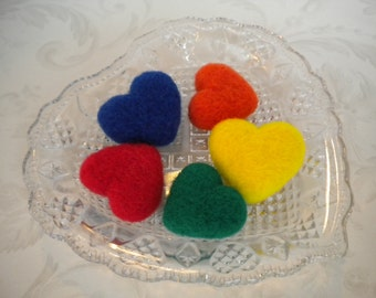 Handful of Needle Felted Hearts,  Set of 5, Wool, Handmade, Primary Brights, Valentines Day