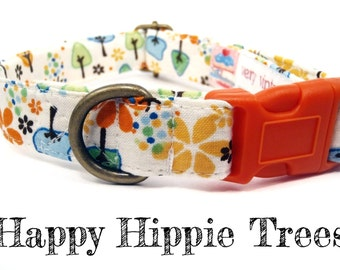 "Retro Hippie Tree Vintage Inspired Dog Collar - Organic Cotton - All Antique Brass Hardware - ""Happy Hippie Trees"""
