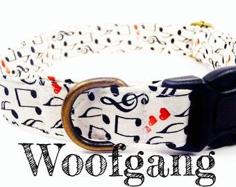 "Music Note Dog Collar - Organic Cotton - Antique Brass Hardware - ""Woofgang"""
