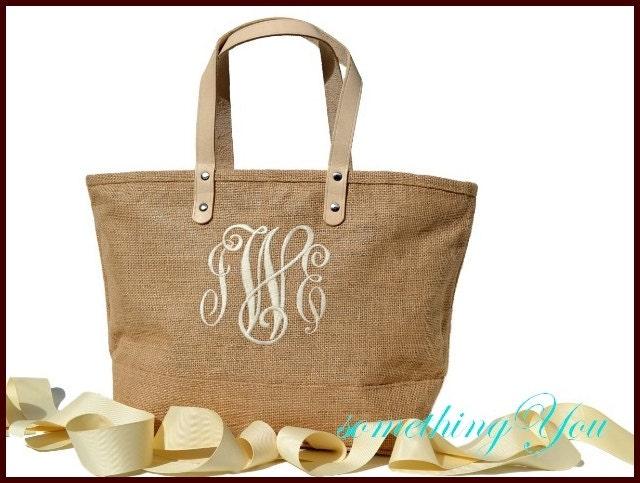 personalized bridesmaid tote jute bag natural burlap wedding