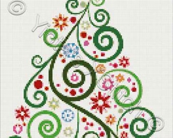 Abstract Christmas tree No2 cross stitch kit