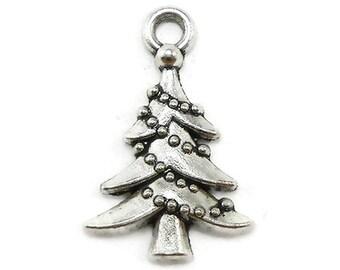 8 Christmas Tree Charms Silver Tone Metal (S282)