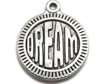 8 Dream Charms silver tone metal affirmation word message (S413)